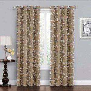 Blackout Window Curtain Panel leaf embroidered 108